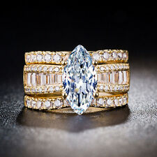 Luxury 18k Yellow Gold Plated Marquise Cut White Sapphire 3pc New Ring Size 7-9