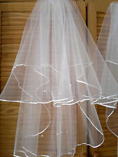 2 layers short beaded wedding veils with comb  off white