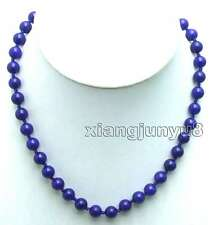 """SALE Beautiful! Small 8mm Round high quality Natural Blue Jade 18"""" necklace-5816"""
