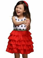 Toddler Girl Polka Dot Layered Dress Party Wedding Pageant Birthday