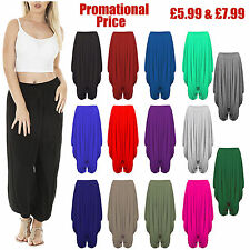 New Ladies Plain Harem Ali Baba Trousers Pants Leggings Baggy Hippy Plus Sizes