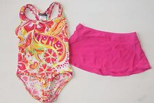 NWT Girls 4 5 White Orange Pink Yellow Floral Heart Swimsuit Swim Skirt Cover Up