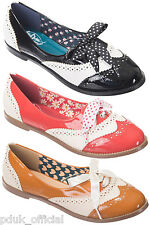 Dancing Days Milana 50s 60s Bowie Black White Red Or Tan Brogue Patent Shoes