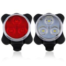 Bicycle Bike 3 LED 4 Modes Head Front Rear Tail Light Lamp USB Rechargeable ER