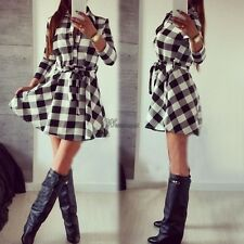 Stylish Ladies Plaid Check Belt Shirt Skater Dress Women Lapel 3/4 Sleeve WT8802