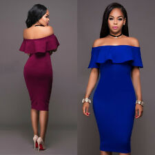 Women Lotus Leaf Sleeve Off Shoulder Bodycon Party Evening Cocktail Pencil Dress