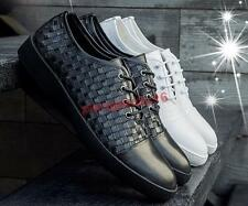 Mens Stylish Weaved Faux leather Dress formal  Lace-up Business Wedding Shoes #