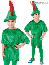 Child Deluxe Peter Pan Costume Boys Girls Neverland Fancy Dress Book Week Outfit