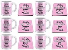 You Are Simply The Best In The World Novelty Gift Mug w/ Coaster -Pink Relations
