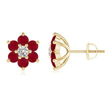 Six Petal Natural Diamond and Ruby Flower Stud Earrings in 14k Yellow Gold