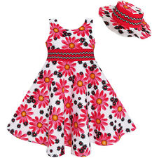 2 Pecs Girls Dress Hat Flower Summer Party Holiday Princess Child Age 4-12 Years