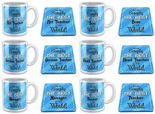 You Are Simply The Best In The World Novelty Gift Mug with Coaster - Blue Titles