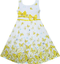 Girls Dress Butterfly Yellow Double Bow Tie Summer Beach Dress Age 4-12 Years