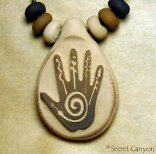 HEALING HAND Power Spiral Native American Style Spiritual Clay Pendant Necklace