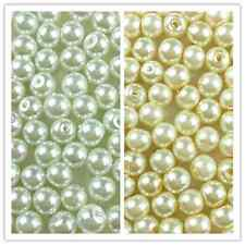 100Pcs Glass Pearl Spacer Loose Bead  White Ivory/Cream