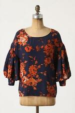 Anthropologie odille Night Phlox Blouse Top 8 M NEW $118 silk button back