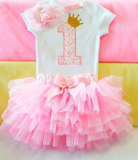 Baby girl cake smash outfit, baby girl pink and gold dress, princess birthday
