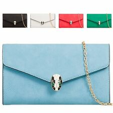Ladies Faux Leather Snake Clasp Clutch Bag Envelope Evening Party Handbag KT652