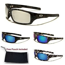Mens Camo Camouflage Wrap Sports Hunting Military Mirrored Lens Sunglasses