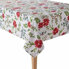 NEW Food Network Holly & Pine Poinsettia Stain-Resistant Microfiber Tablecloth