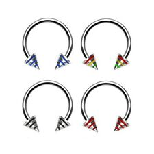 Stainless steel circular (horseshoe) barbell with epoxy striped cones, 14 ga