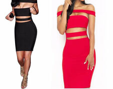 Summer Women hollow dress Strapless Party Dresses Black Red Mini Dresses