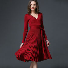 Women Dress Casual V-neck Knitted Knee Length  Knit Dress Wine Red Color