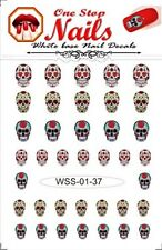 Sugar Skull vinyl Peel and Stick nail decals. Set of 37 by One Stop Nails WSS-01