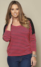 BNWT STRIPE SLOUCH TOP BY JUST ME RED & BLACK- ALL SIZES: 16, 18, 20, 22, 24, 28