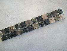 Marble & Crackled Glass Mix Border Tiles - Aztec Dark  - Various Pack Sizes