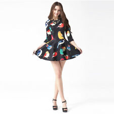 Women Fashion Half Sleeve O-neck High Waist A-line Printed Mini Dress AP0724