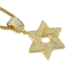 Vogue Mens Gold Crystal Stainless Steel Hexagram Pendant Hip Hop Chain Necklace