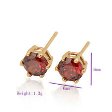 Woman 18K Yellow Gold filled  Colorful clear crystal Stud Earring