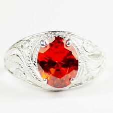 Created Padparadsha Sapphire, 925 Sterling Silver Ladies Ring-Handmade, SR083