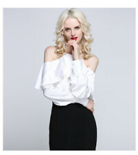 Women Spring Summer Off Shoulder Ruffle Loose Sleeves Casual Short Blouse