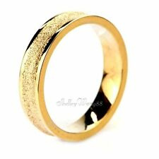 Wedding Ring US 4-8 Frosting Band 4mm Women Matte Stainless Steel Gold Concave