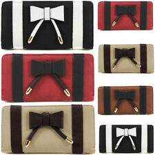 UK Ladies Bow Design Bifold Long Coin Purse Womens Wallet Card Holder New UK