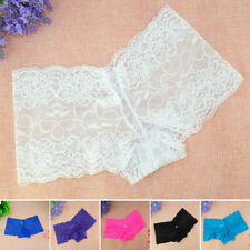 Womens Ladies Lace Stretch Panties Lingerie Seamless Boyshorts Underwear Knicker
