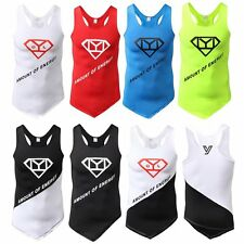 Sports Men Sleeveless Running T-Shirt Fitness Quick Dry Stretch Tops Tee Vest UK