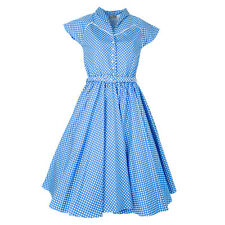 Gorgeous Blue Polka Dot 1950s Style Dress