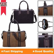 Men's Retro Briefcase Business Canvas Messenger Shoulder Tote Bag Satchel Laptop