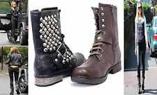 NEW LADIES BIKER LACE UP RIDING GOTH PUNK MID CALF ANKLE BOOTS SIZE 3-8