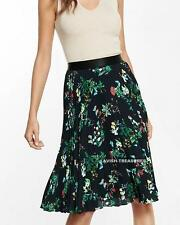 NEW $70 EXPRESS BLACK BUTTERFLY FLORAL PLEATED ACCORDION MIDI DRESS SKIRT XS S M