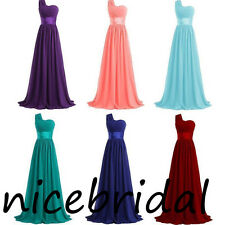One Shoulder Bridesmaid Dresses Long Chiffon Homecoming Ball Prom Party Dresses