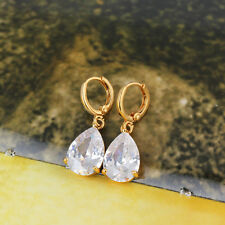 antique womens jewelry lucky hoop earrings Teardrop crystal Gold plated earings