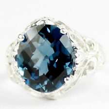 London Blue Topaz, 925 Sterling Silver Ring, SR114-Handmade