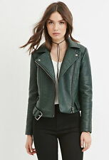 Forever 21 Hunter Green Faux Leather Moto Belted  Jacket Small S