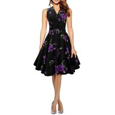 Women Rose Floral Print Ruched Sleeveless Casual Tunic Dress FA0651