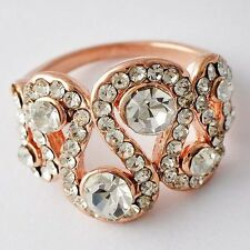 Very Nice Womens Rose Gold plated Clear crystal Promise Love Band Ring Size 5-8