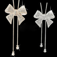 Lady Sweet Dazzle Rhinestone Bowknot Pendant Long Necklace Sweater Chain Clever